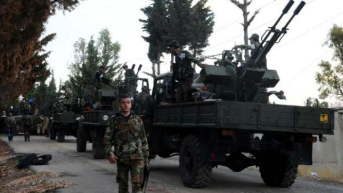 نظامیان مخالف دولت اسلامی در اطراف حلب در سوریه